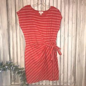 Loft Reddish Orange Textured Tie Waist Dress